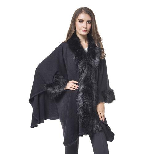 Black Colour Cape with Faux Fur Edge (Free Size)