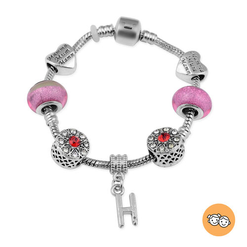H Initial Charm Bracelet for Children in Simulated Pink Colour Bead, Red and White Austrian Crystal