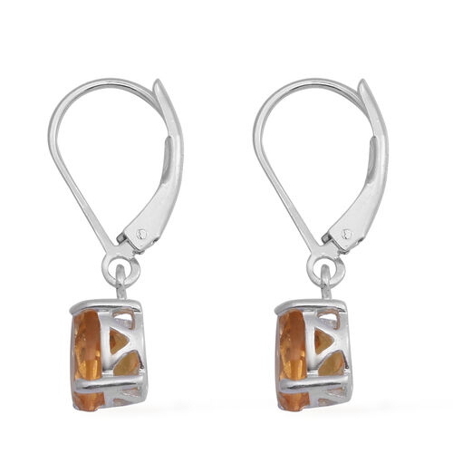 MP Citrine Lever Back Earrings in Rhodium Overlay Sterling Silver 2.22 Ct.