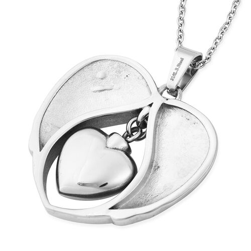 White Austrian Crystal Brother Angel Wing Heart Memorial Urn Pendant with Chain (Size 20) in Stainless Steel
