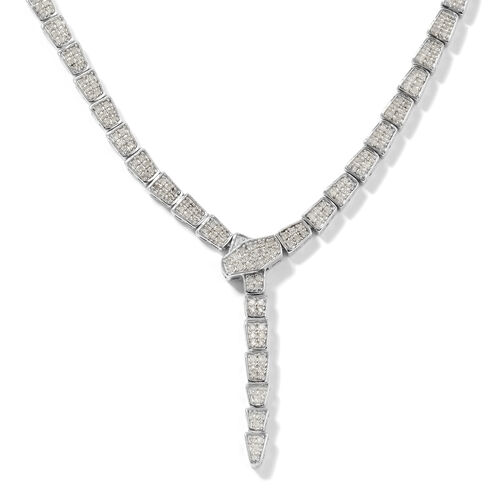 1.50 Ct Diamond Y Necklace in Platinum Plated Sterling Silver 18 Inch