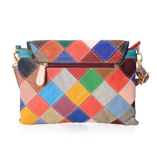 Morocco Collection 100% Genuine Leather Multi Colour Patchwork Crossbody Bag with Removable Shoulder Strap (Size 29x22 Cm)