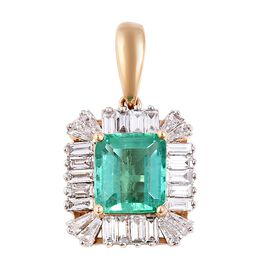 WEBEX- ILIANA 18K Y Gold AAA Boyaca Colombian Emerald (Oct 1.15 Ct), Diamond (SI/G-H) Pendant 1.750