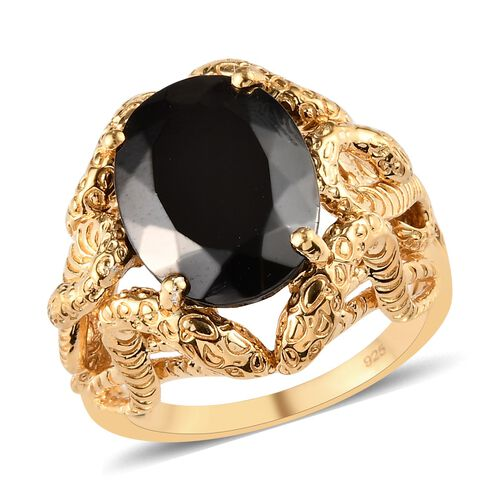 5.50 Ct Elite Shungite Solitaire Ring in 14K Gold Plated Sterling Silver 10 Grams