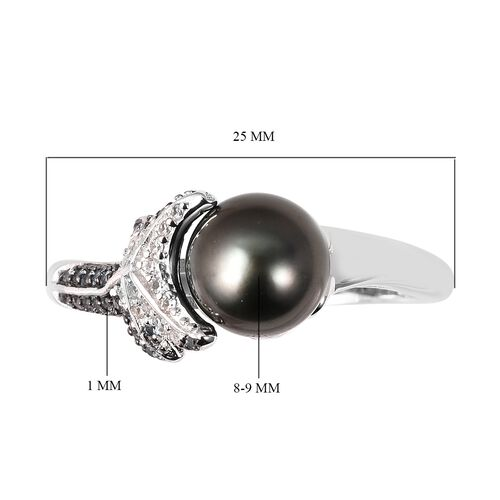 Tahitian Pearl (Rnd 8-9 mm), Natural White Cambodian Zircon and London Blue Topaz Ring in Sterling Silver 4.570 Ct.