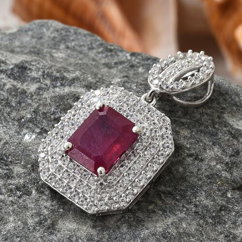 Limited Edition- Designer Inspired- Rare Size African Ruby (Oct 11X9 mm), Natural Cambodian Zircon Pendant in Platinum Overlay Sterling Silver 8.250 Ct. Number of Gemstone 124