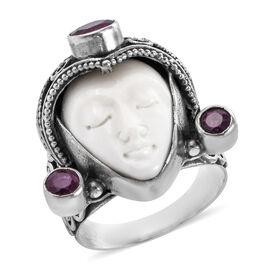 Royal Bali 14.47 Ct OX Carved Bone Face and African Ruby Ring in Sterling Silver 9.4 Grams