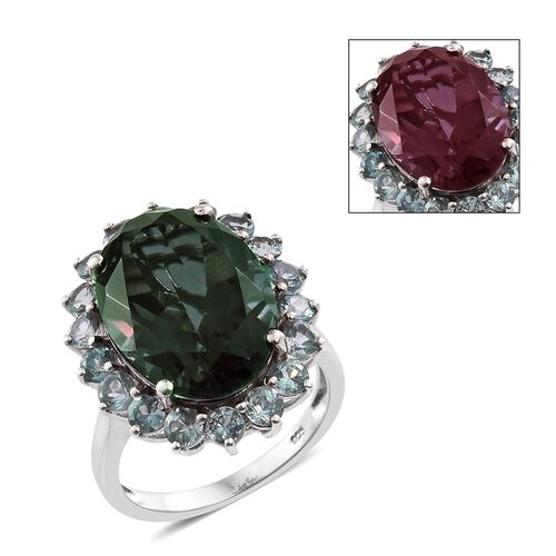 Colour Change Alexandrite Quartz (Ovl 12.35 Ct), Mint Apatite Ring in Platinum Overlay Sterling Silver 14.750 Ct.