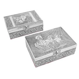 Set of 2 - Horse Embossed Jewellery Storage Box with Red Velvet Lining (Size 17.7x12.7x5.08 Cm)