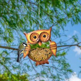 Metal Mesh Bird Feeder - Owl (Size 19x7.5x52Cm) - Yellow and Brown