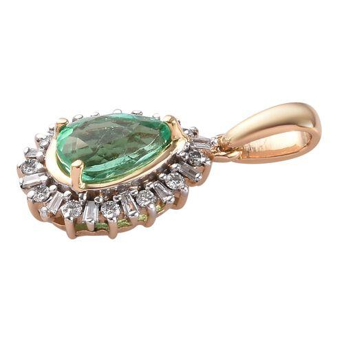 ILIANA 18K Yellow Gold AAA Boyaca Colombian Emerald and Diamond (SI/G-H) Pendant 0.97 Ct.