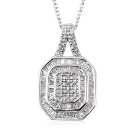 Super Auction - Diamond (Rnd and Bgt) Pendant with Chain (Size 18) in Platinum Overlay Sterling Silv