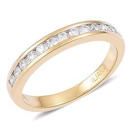 ILIANA 18K Yellow Gold 0.35 Ct Diamond Half Eternity Band Ring IGI Certified (SI/G-H)