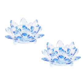 2 Piece Set - Crystal Waterlily Candle Holder (Size 11x5 Cm) - Blue