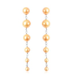 Golden Shell Pearl Dangle Earrings in Sterling Silver
