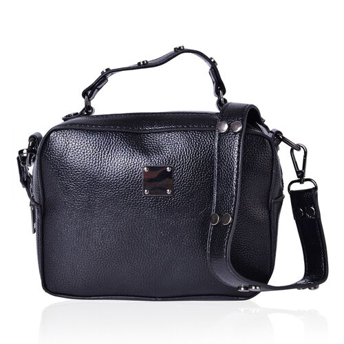 Black Colour Crossbody Bag with External Zipper Pocket and Removable Shoulder Strap (Size 20X15X7.5 Cm)