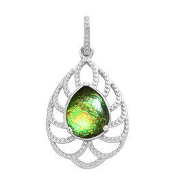 AA Canadian Ammolite (Pear 10x8 mm) Pendant in Platinum Overlay Sterling Silver 2.00 Ct.