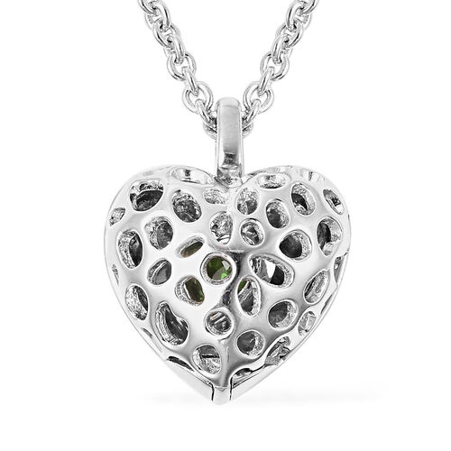 RACHEL GALLEY Angel Heart Collection - Russian Diopside Lattice Heart Locket Pendant with Chain (Siz