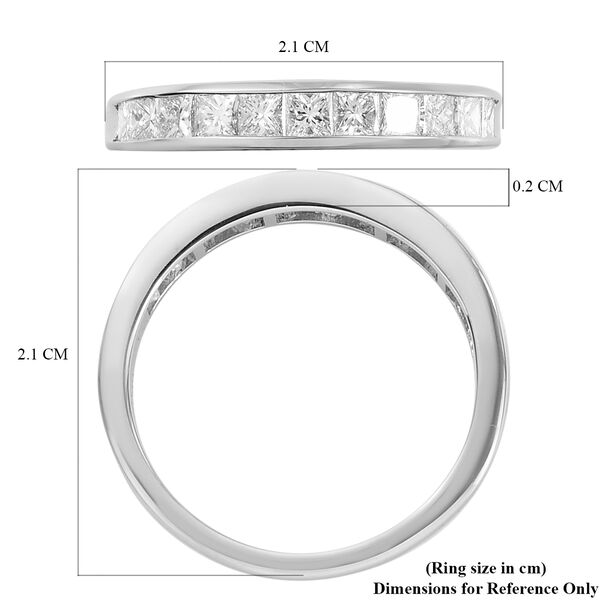 RHAPSODY 950 Platinum IGI Certified Diamond (VS/E-F) Half Eternity Band Ring 1.00 Ct.