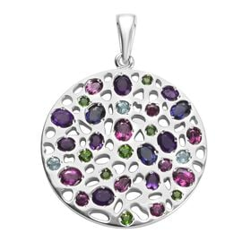 RACHEL GALLEY Amethyst (Ovl), Rhodolite Garnet and Multi Gemstone Pendant in Rhodium Overlay Sterlin