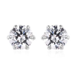 J Francis - Platinum Overlay Sterling Silver (Round 6.5mm) Solitaire Stud Earrings Made with SWAROVS