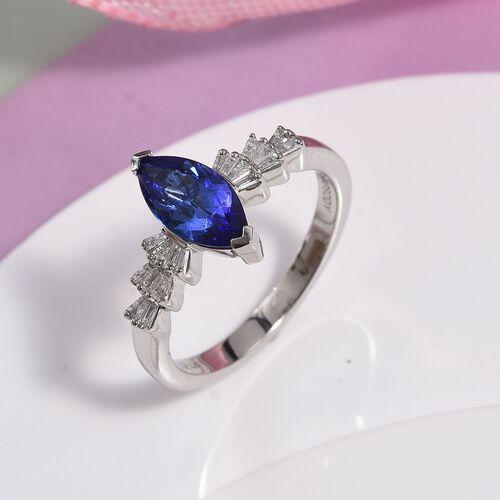 RHAPSODY 950 Platinum AAAA Tanzanite (1.05 Ct), Diamond (VS/E-F) Marquise Ring 1.20 Ct.