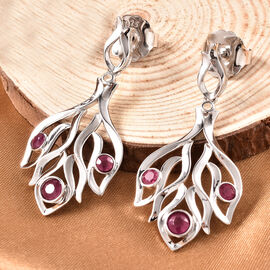 LucyQ Flame Collection - African Ruby (FF) Dangle Earrings (with Push Back) in Rhodium Overlay Sterling Silver