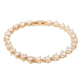 ETERNITY Crystal from Swarovski White Crystal Bracelet in Gold Plated 7.5 Inch