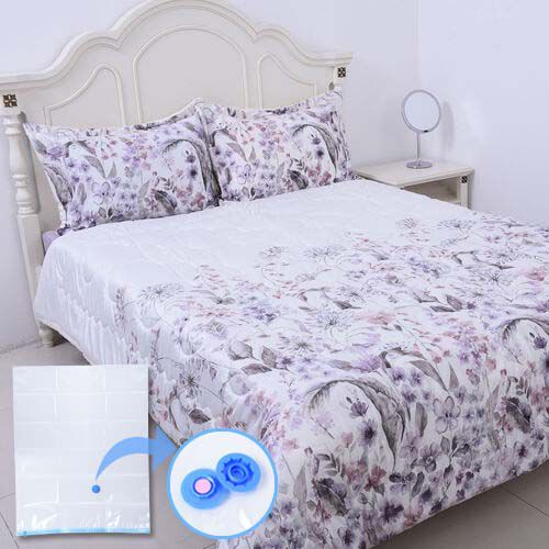 4 Piece Set - Serenity Night White with Multi Colour Floral Print Comforter (220x225cm), Fitted Shee