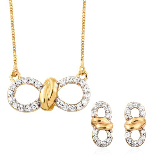 J Francis - Gold Plated Silver Knot Infinity Pendant with Chain and Stud Earrings Set (with Push Bac
