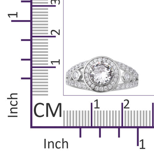ELANZA Simulated Diamond Ring in Rhodium Overlay Sterling Silver 3.64 Ct.