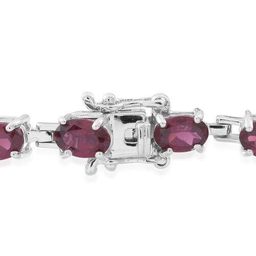 Rhodolite Garnet (Ovl) Bracelet (Size 7.5) in Rhodium Plated Sterling Silver 11.000 Ct.
