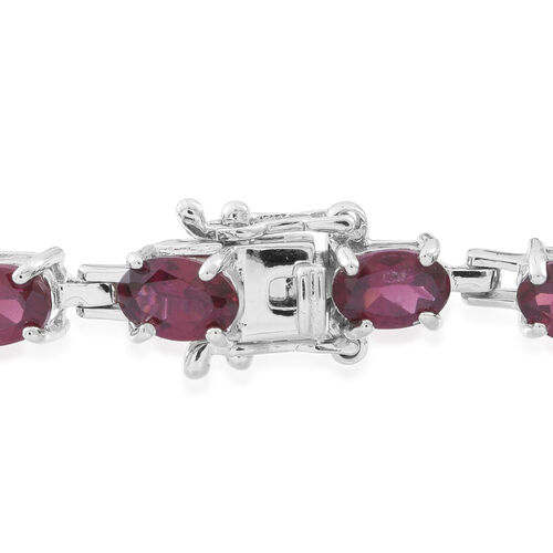 Rhodolite Garnet (Ovl) Bracelet (Size 8) in Rhodium Plated Sterling Silver 11.000 Ct.