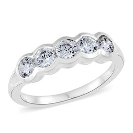 J Francis - Sterling Silver (Rnd) 5 Stone Ring Made with SWAROVSKI ZIRCONIA