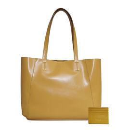 ASSOTS LONDON 2 Piece Set - ADELA Genuine Smooth Leather Tote Bag (31x9.5x26.5cm) & Matching RFID FANN Cardholder (10x8cm) - Mustard