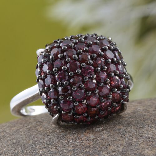 Arizona Anthill Garnet (Rnd) Cluster Ring in Platinum Overlay Sterling Silver 3.500 Ct.