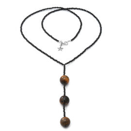 GP - Tigers Eye (Rnd), Natural Boi Ploi Black Spinel and Blue Sapphire Beads Necklace (Size 26) with