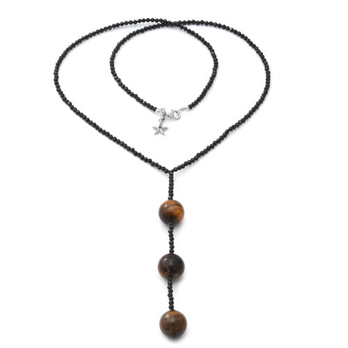 GP 150.03 Ct Tigers Eye and Multi Gemstone Star Charm Beaded Necklace in Sterling Silver 26 Inch