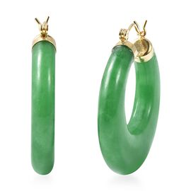 Green Jade Hoop Earrings in Yellow Gold Overlay Sterling Silver 66.50 Ct.