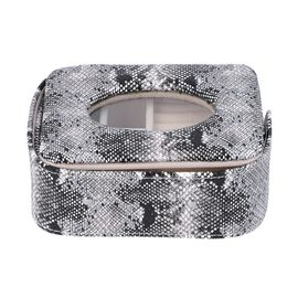Unique Python Skin Pattern Jewellery Storage Box with Transparent Glass Window, 7 Ring Rows and 4 Se
