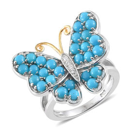Arizona Sleeping Beauty Turquoise (Rnd), Natural White Cambodian Zircon Butterfly Ring in Platinum and Yellow Gold Overlay Sterling Silver 1.750 Ct