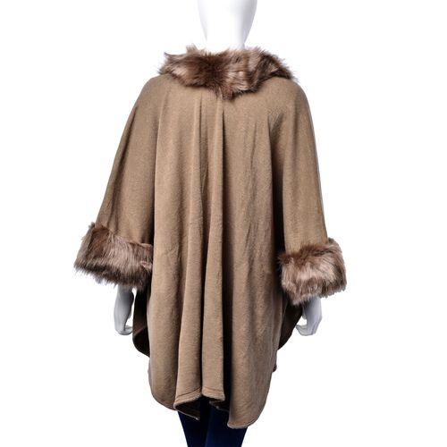 Khaki Colour Ruana, Collar and Sleeve with Faux Fur Edge (Size 105x70 Cm)