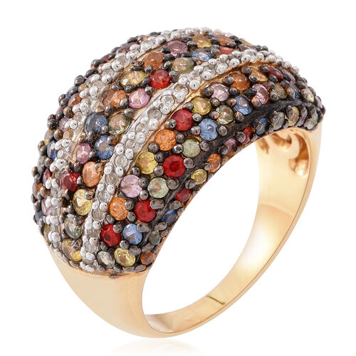 Rainbow Sapphire (Rnd), Natural White Cambodian Zircon Ring in Rhodium and Yellow Gold Overlay Sterling Silver 5.000 Ct.