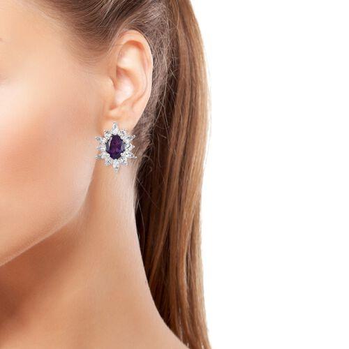 Lusaka Amethyst (Ovl), White Topaz Clip On Earrings  in Platinum Overlay Sterling Silver 4.500 Ct.