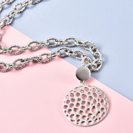 Rachel Galley Allegro link Collection - Rhodium Overlay Sterling Silver Necklace (Size 20), Silver wt 39.00 Gms