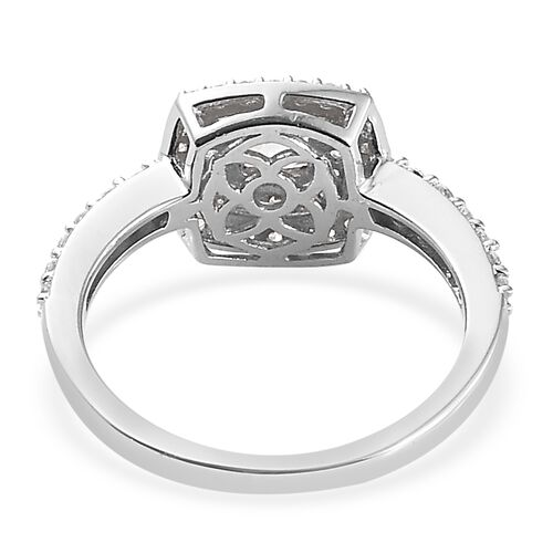 J Francis - Platinum Overlay Sterling Silver (Cush) Ring Made with SWAROVSKI ZIRCONIA