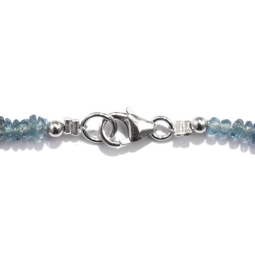 Extremely Rare - Teal Kyanite (Rnd) Beads Necklace (Size 18) in Rhodium Overlay Sterling Silver 70.000 Ct.