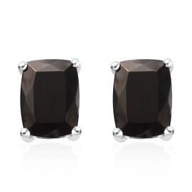 Elite Shungite (Cush) Stud Earrings (with Push Back) in Platinum Overlay Sterling Silver 2.00 Ct.