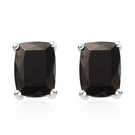 Elite Shungite (Cush) Stud Earrings in Platinum Overlay Sterling Silver 2.00 Ct.