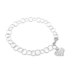 New York Close Out Sterling Silver Round Link Bracelet (Size 7.5) with Heart Charm